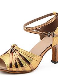 Dámské Latina Koženka Sandály Uvnitř Vysoký úzký Zlatá 7cm Na míru