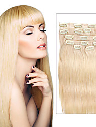 7 Pcs/Set Color 613 Beach Blonde Gold Hair Clip In Hair Extensions 14Inch 18Inch 100% Human Hair