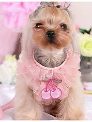 baratos -Cachorro Vestidos Roupas para Cães Xadrez Roxo Rosa claro Algodão Ocasiões Especiais Para animais de estimação Homens Mulheres Casual