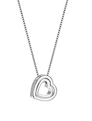 cheap -Women's Synthetic Diamond Crossover Pendant Necklace - Rhinestone Heart Unique Design, Dangling Style, Hip-Hop White Necklace For Wedding, Party, Special Occasion