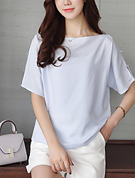 cheap -Women's Going out Beach Casual Boho Summer Fall Blouse,Solid Boat Neck Short Sleeves Silk Cotton Opaque