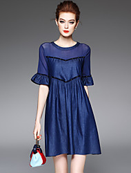 Women's Going out Casual/Daily Street chic Loose Denim Dress Pleated Beaded Patchwork Flare Sleeve Above Knee Cotton /Polyester Summer High Waist