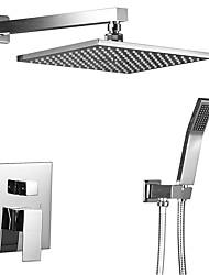 cheap -Contemporary Art Deco/Retro Modern Shower System Rain Shower Handshower Included Ceramic Valve Four Holes Two Handles Four Holes Chrome ,