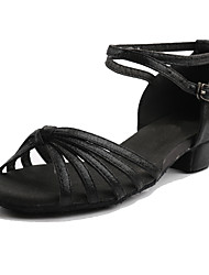 Women's Dance Shoes Satin Latin Sneakers Low Heel Practice Customizable