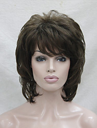 cheap -New Light Chestnut Brown Medium Length Cascaded Layers Synthetic Hair  Women's Full Wig