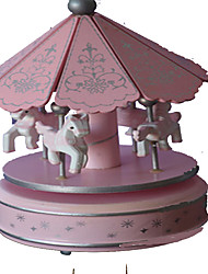 cheap -Music Box Toys Cute Lighting Circular Carousel Merry Go Round Plastic Pieces Gift