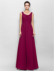cheap -A-Line Scoop Neck Floor Length Chiffon Bridesmaid Dress with Ruched by LAN TING BRIDE®