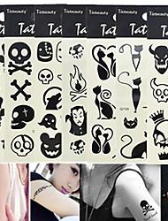 1pcs Hot Sale Fashion Tattoo Sticker Lovely Halloween Skull Cute Cat Colorful Design 3D Black Tattoo Stickers For Beauty Art Decoration Q101-110