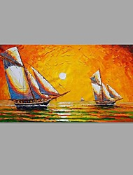 cheap -Knife painting Sea view Picture Canvas Handpainted Oil Painting Wall Art With Stretched Frame Ready to Hang