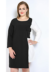 cheap -Really Love Women's Daily Holiday Plus Size Cute Casual Sexy T Shirt Tunic Black and White Dress,Color Block Patchwork Round Neck Knee-length