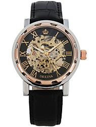 Men's Fashion Watch Quartz Leather Band Black Brown Light Blonde Black Gold