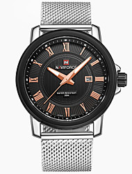 abordables -NAVIFORCE Homme Montre Bracelet / Montre de Sport Calendrier / Cool Acier Inoxydable Bande Luxe / Décontracté / Mode Argent