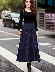 Women's Midi Skirts,Simple A Line Striped Winter