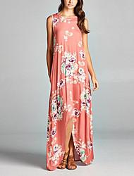 Mulheres Diário Bandagem Para Noite Vintage Sensual Moda de Rua Solto Longo Assimétrico Vestido Floral Decote Redondo Sem Manga