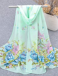 cheap -Women's Chiffon Scarf Cute Party Casual Rectangle Green/Blue/Yellow/Pink Print Scarves