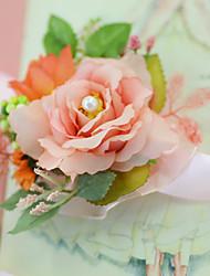 """baratos -Bouquets de Noiva Buquê de Pulso Casamento Festa / Noite Festa de Noivado Festa/Coquetel Tule Cetim 1.18""""(Aprox.3cm)"""