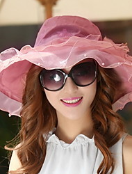 cheap -Women Foldable Summer Ladies Anti-UV Big Brim Chiffon Star Love Embroidery Printing Large Slower Decoration Sun Hat
