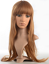 cheap -Kinky Straight Wig Synthetic Fiber Wig Long Brown Color Costume Wig For Women