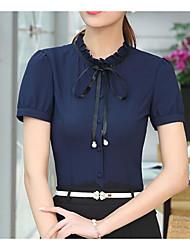 cheap -Women's Work Casual Shirt,Solid Shirt Collar Short Sleeves Polyester Thin