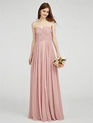 cheap -A-Line Sweetheart Neckline Floor Length Chiffon Bridesmaid Dress with Criss Cross / Ruched by LAN TING BRIDE®