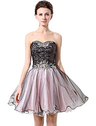 Ball Gown Fit & Flare Sweetheart Short / Mini Chiffon Cocktail Party Prom Dress with Sequins by Sarahbridal