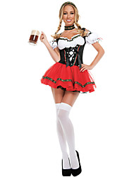 Oktoberfest/Beer Cosplay Costumes Female Halloween Oktoberfest Festival/Holiday Halloween Costumes Black/Red Solid Color