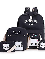 Women Bags All Seasons Canvas Backpack 4 Pcs Purse Set for Casual Green Black Blushing Pink Gray Earth Yellow