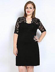 cheap -Really Love Women's Plus Size Club Cute Lace T Shirt Tunic Dress - Solid Colored Lace V Neck