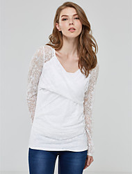 Women's Lace Sexy Spring Blouse,Solid Square Neck Long Sleeve White Rayon Medium