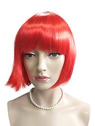 Donna Parrucche sintetiche Senza tappo Pantaloncini Lisci Kinky liscia Rosso Taglio medio corto Parrucca naturale costumi parrucche