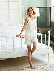 Women's Home Suit Ruffles Cascading Patchwork Lace Bow Sweet Sleepwear Set