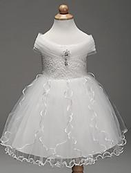 a-line breve / mini fiore ragazza abito - chiffon senza maniche spalla con spalla con dettagli di cristallo da likestar
