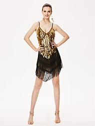 Devemos vestir dança latina vestido feminino desempenho chinlon alto
