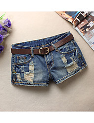 abordables -Mujer Simple Delgado Shorts Vaqueros Pantalones - Un Color