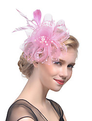 cheap -Gemstone & Crystal / Tulle / Imitation Pearl Fascinators / Headpiece with Crystal / Feather 1 Wedding / Special Occasion / Party / Evening Headpiece