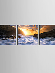 cheap -E-HOME Stretched Canvas Art Sunrise On The Coast Decoration Painting Set Of 3