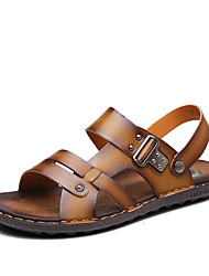 Men's Sandals Spring Summer Comfort PU Casual Flat Heel Beading Khaki Dark Brown Navy Blue