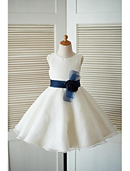 cheap -A-Line Knee Length Flower Girl Dress - Tulle Sleeveless Jewel Neck with Flower(s) Sash / Ribbon by LAN TING BRIDE®