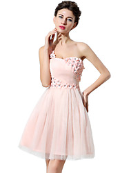 A-Line Fit & Flare One Shoulder Short / Mini Tulle Cocktail Party Homecoming Dress with Crystal Detailing Flower(s) by Sarahbridal
