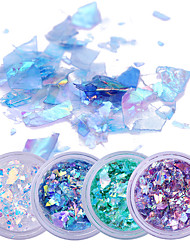 cheap -2g*4 Boxes Fluorescent Nail Flakies Glass Paper Irregular Paillette Nail Art Glitter Sequins Flakes