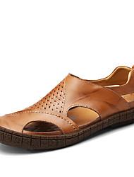 Недорогие -Муж. обувь Дерматин Весна Лето Удобная обувь Сандалии для Повседневные Черный Желтый