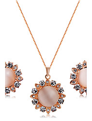 cheap -Women's Opal / AAA Cubic Zirconia Jewelry Set - Cubic Zirconia, Opal Flower Fashion, Euramerican Include Pendant / Necklace Red For Christmas Gifts / Wedding / Party