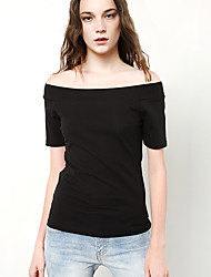 cheap -Women's Going out Sexy Summer T-shirt,Solid Boat Neck Short Sleeves Cotton Polyester Thin