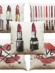 Set of 5 Blazing Red Lips Pattern  Linen Pillowcase Sofa Home Decor Cushion Cover (18*18inch)