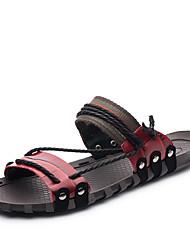 baratos -Homens sapatos Pele Verão / Outono Solados com Luzes / Conforto Sandálias Vermelho Escuro / Vinho / Verde Escuro