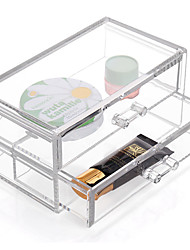 cheap -Acrylic Transparent Complex Combined Large Capacity Quadrate Double 2 Layer Makeup Cosmetics Storage Drawer Cosmetic Organizer Jewelry Display Box