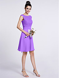 cheap -A-Line Scoop Neck Knee Length Chiffon Lace Bridesmaid Dress with Lace by LAN TING BRIDE®
