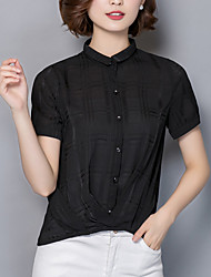 cheap -Women's Daily Going out Casual Street chic Summer Fall Blouse,Solid Shirt Collar Short Sleeves Silk Opaque