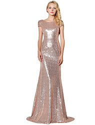 cheap -Mermaid / Trumpet Jewel Neck Floor Length Sequined Formal Evening Dress with Sequins by Sarahbridal