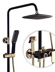 Campestre Conjunto Central Cascada Rotativo Válvula Cerámica Sola manija Dos Agujeros Níquel Cepillado , Grifo de ducha